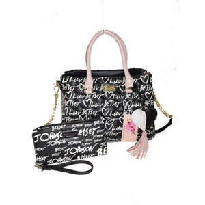 BETSEY JOHNSON BLACK CROSS BODY SATCHEL WALLET SET